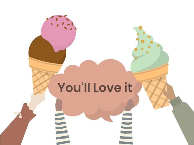 Illustration of ice cream cones