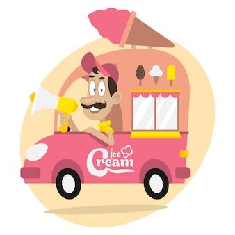 그림, 아이스크림 트럭 및 확성기가 있는 운전자, 형식 eps 10