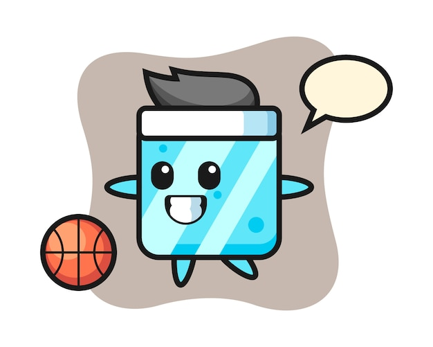 Illustration of ice cube cartoon is playing basketball