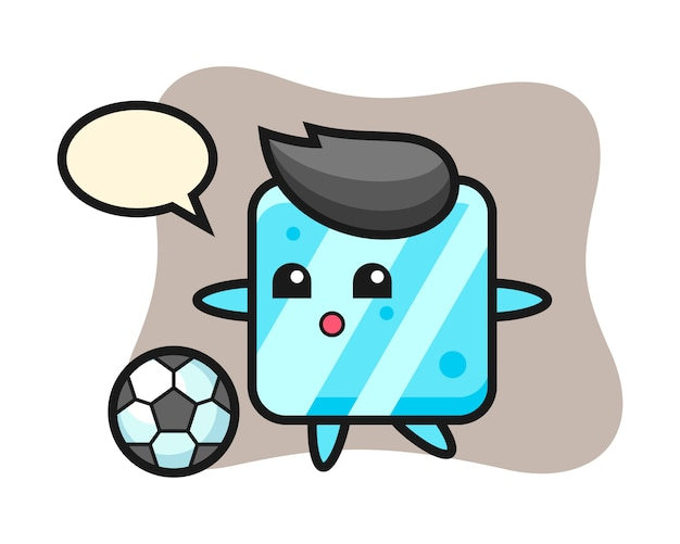 Illustration of ice cube cartoon is playing soccer