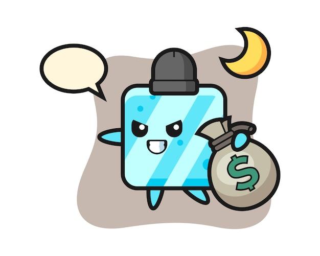 Illustration of ice cube cartoon is stolen the money