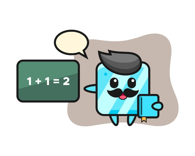 Illustration of ice cube character as a teacher