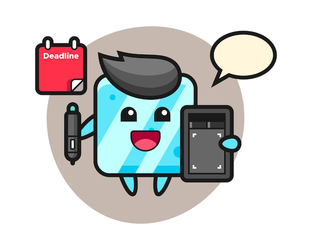 Illustration of ice cube mascot as a graphic designer