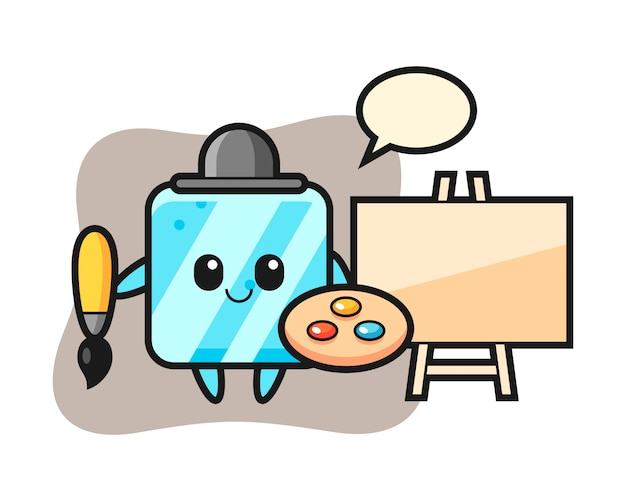 Illustration of ice cube mascot as a painter