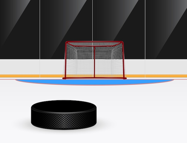 Illustration of ice hockey puck in front of goal