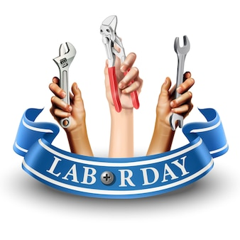 Illustration icon of labor day banner. element  emblem. hands holding instruments like screw or wrench.  on white background.