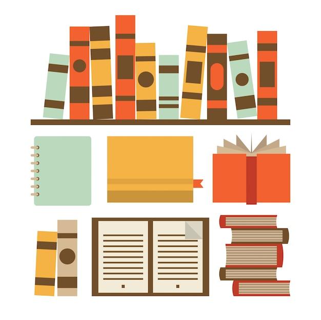 Illustration icon set of book
