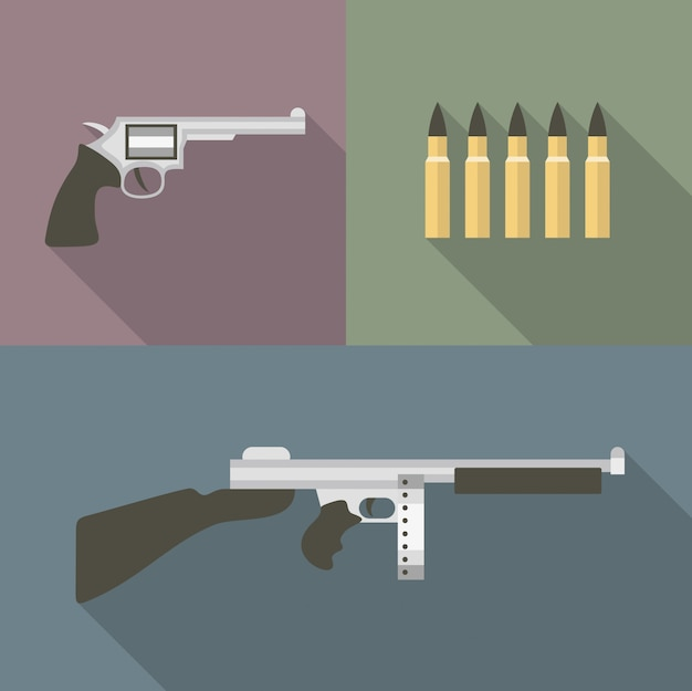 Иллюстрация значок набор пистолета: пистолет, пуля, автомат