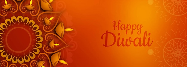 Illustration of illuminated diwali festival banner or header