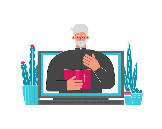 Иллюстрация иллюстрации. христианский пастор. священник проводит онлайн-конференцию по библии