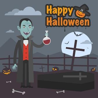 Иллюстрация, иллюстрация хэллоуин дракула держит пробирку с кровью, формат eps 10