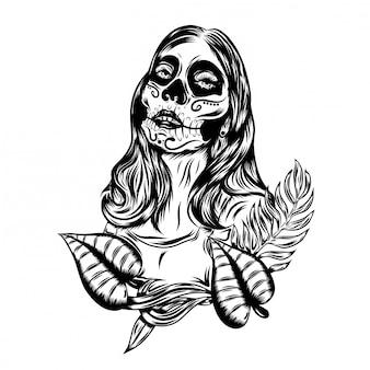 Иллюстрация иллюстрация дня мертвого фейс-арта с винтажным фейс-артом
