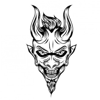 長い角と恐怖の顔を持つ悪魔のイラスト