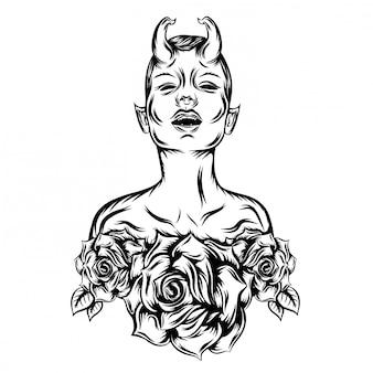 傲慢な顔で邪悪な女性のイラスト