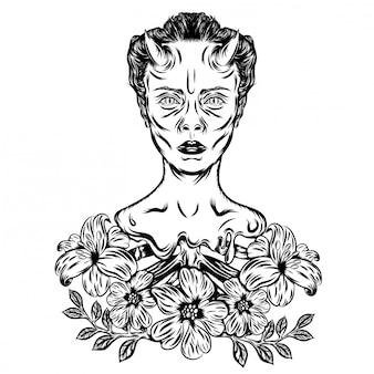 怖い顔で小さな角を持つ邪悪な女性のイラストイラスト