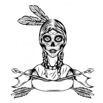 矢印フレームを持つインドの女性のイラストイラスト