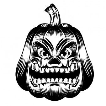 Illustration illustration with pumpkins big mouth and eyes