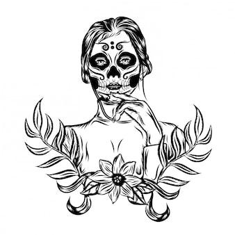 Иллюстрация иллюстрация со страхом день мертвого фейс-арта вдохновения