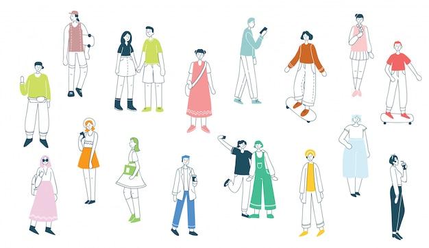 ジャンプ、ダンス、ウォーキング、愛のカップル、スポーツをしているさまざまな活動の人々のフラットスタイルのイラスト