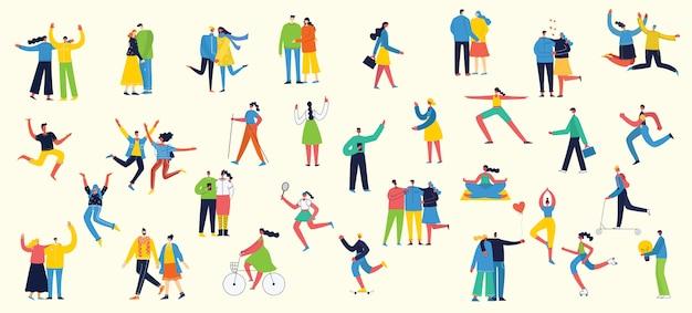 Smarthones、旅行、ダンス、ウォーキング、ビジネス、愛のカップル、スポーツをしてジャンプ、さまざまな活動の人々のフラットスタイルのイラスト
