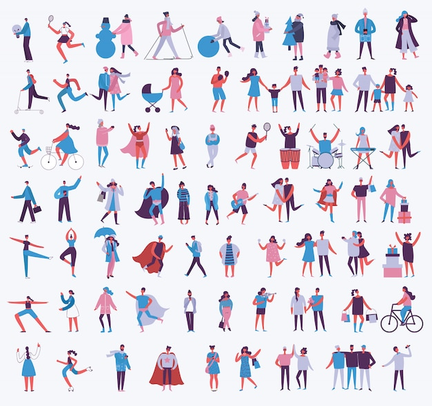 さまざまな活動の人々のフラットスタイルのイラスト