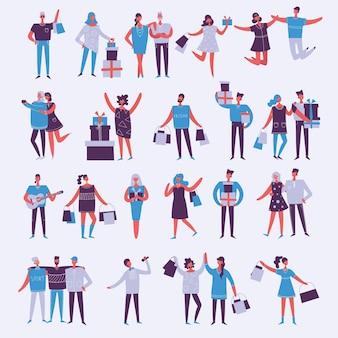 Иллюстрация в плоском стиле группы модного дня рождения
