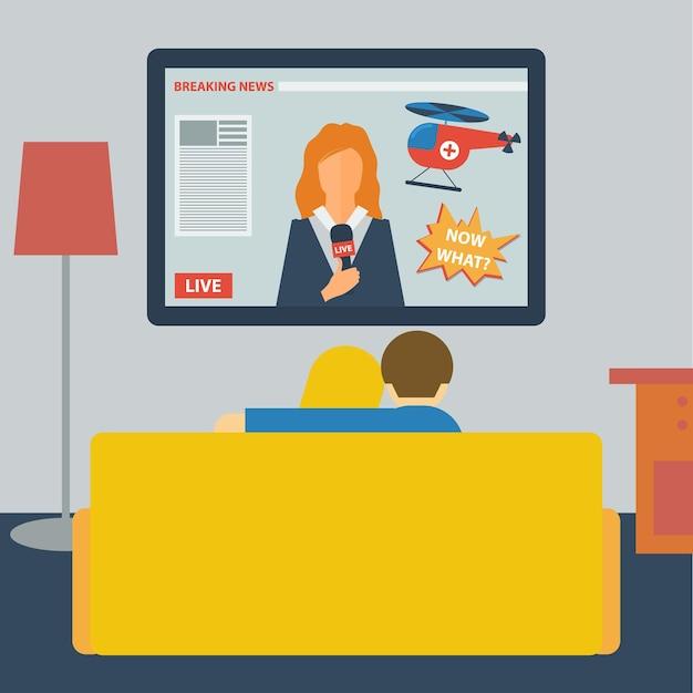 방에 있는 소파에 앉아 텔레비전으로 뉴스를 보는 부부와 함께 평평한 스타일의 그림