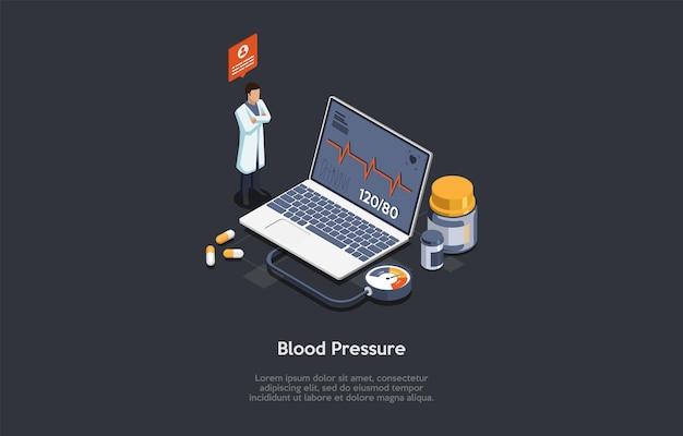Иллюстрации в мультяшном стиле 3d. дизайн концепции измерения артериального давления