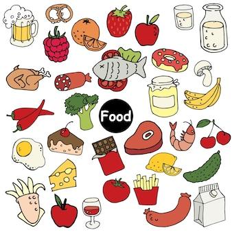 食品の落書きスタイルの漫画セットのイラスト
