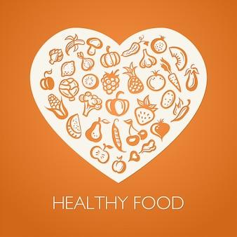 Иллюстрация в плоском дизайне фруктов и овощей в композиции в форме сердца