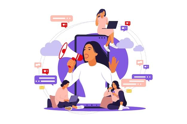 Иллюстрация в плоском простом стиле с персонажами, маркетинговой концепцией влиятельного человека, услугами по продвижению блоггера и товарами для его последователей в интернете