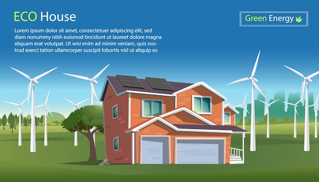 Иллюстрация в плоском стиле экологического дома с солнечными батареями на крыше, энергии ветра с ветряными турбинами на зеленом пейзаже. энергия ветра эко энергии промышленной концепции. чистая энергия.