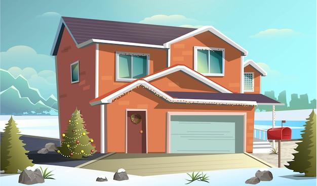 ガレージ付きの赤いクリスマスコテージ家と雪の中で冬の国側通りのフラットスタイルのイラスト。