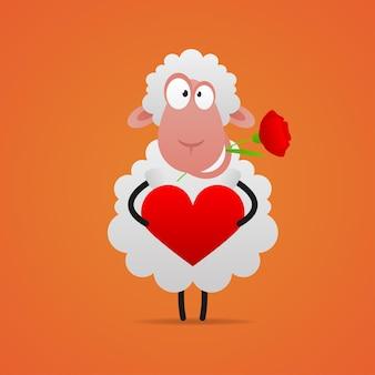 Иллюстрация, влюбленная овца улыбается и держит сердце, формат eps 10