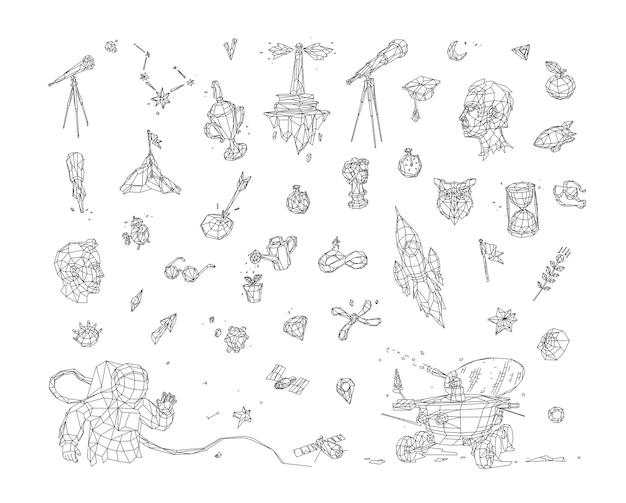 Иллюстрация в стиле низкой поли. рисунки и иконы на тему космоса и бизнеса.