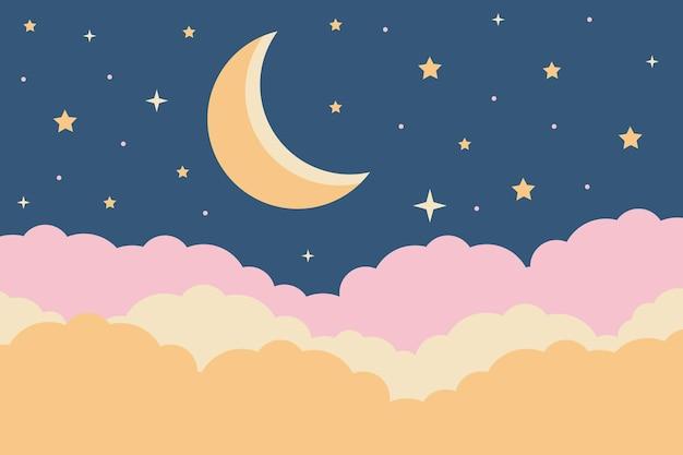 パステルカラーの雲と光沢のある星と夜空のペーパーカットスタイルのイラスト