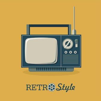 レトロなスタイルのイラスト。古いテレビ。ベクトルイラスト、ロゴ、アイコン。