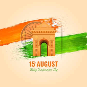 Illustration of india gate monument with dove flying, saffron and green brush effect on ashoka wheel beige background for 15th august, independence day concept.