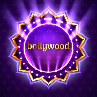 Illustration of indian bollywood cinema sign board, neon illuminated banner with golden logo on violet floral background