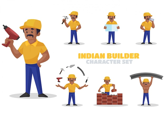 Illustration of indian builder character set