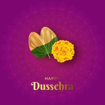 Иллюстрация индийский фестиваль happy dussehra с зеленым листом и желтым цветком