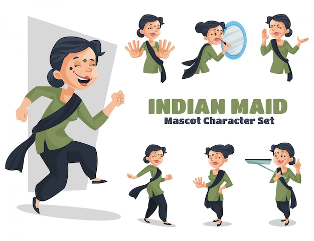 Illustration of indian maid character set
