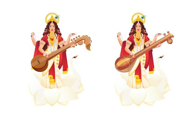 Illustration of indian mythological goddess saraswati