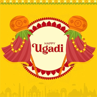 Illustration of indian new year festival ugadi wishing card   design