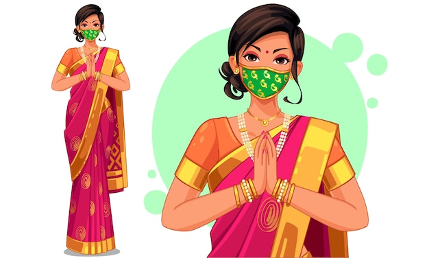 Illustration of indian woman with traditional outfit wearing designer mask