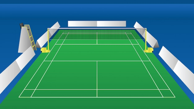 Illustration of an indoor arena for badminton perspective