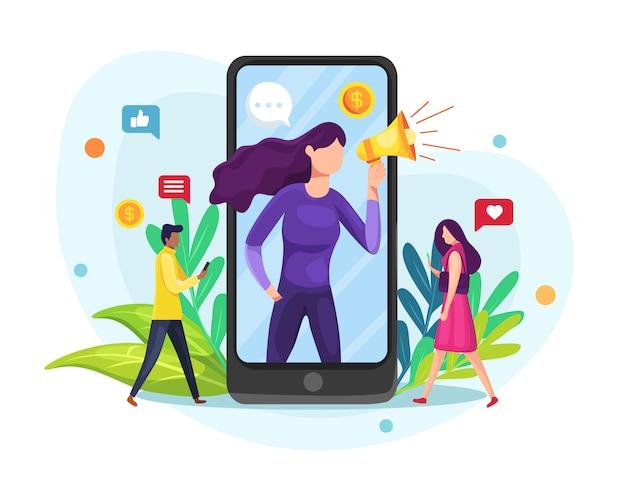 Иллюстрация influencer или блоггер