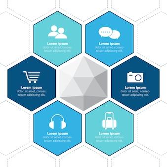 イラスト、ビジネス、プレゼンテーション、六角、概念。 Premiumベクター