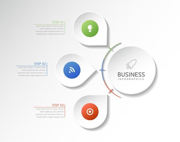 3 단계 그림 인포 그래픽 디자인 템플릿 비즈니스 정보 프리젠 테이션 차트