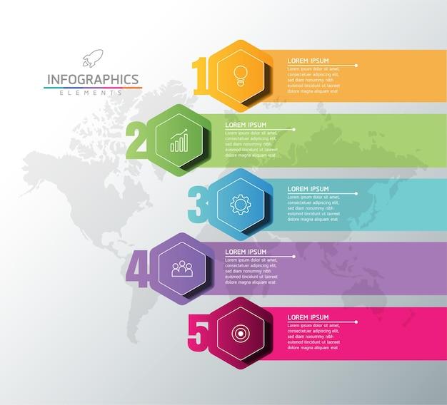 5 단계 그림 인포 그래픽 디자인 템플릿 비즈니스 정보 프리젠 테이션 차트